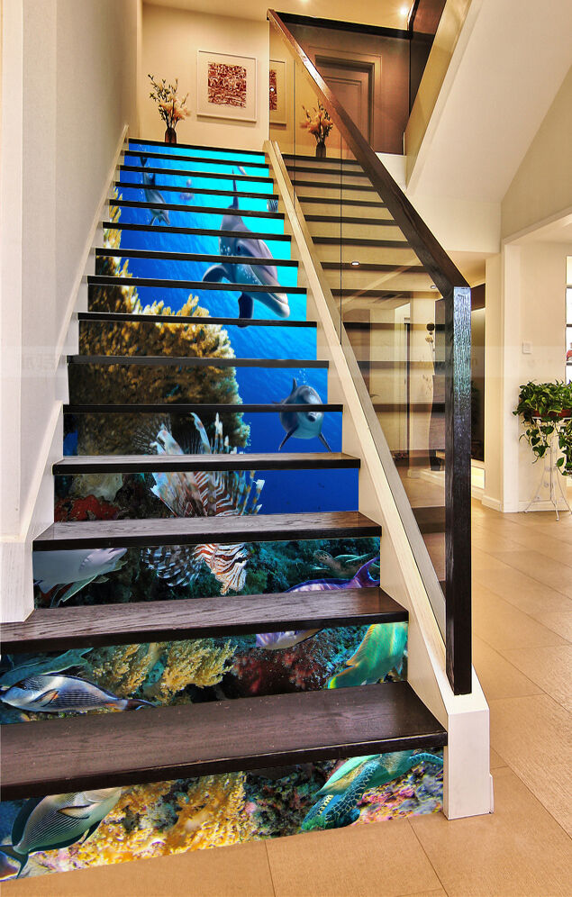 3D Dolphin Sea 366 Stair Risers Decoration Photo Mural Vinyl Decal Wallpaper UK