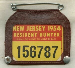 Vintage 1954 new jersey hunting license in case ebay for Fishing license nj