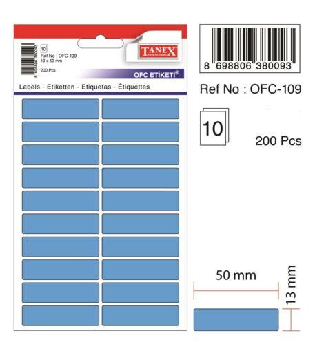 200 Etiketten 13 x 50 mm TANEX OFC-109 Vielzweck Etiketten farbig grün