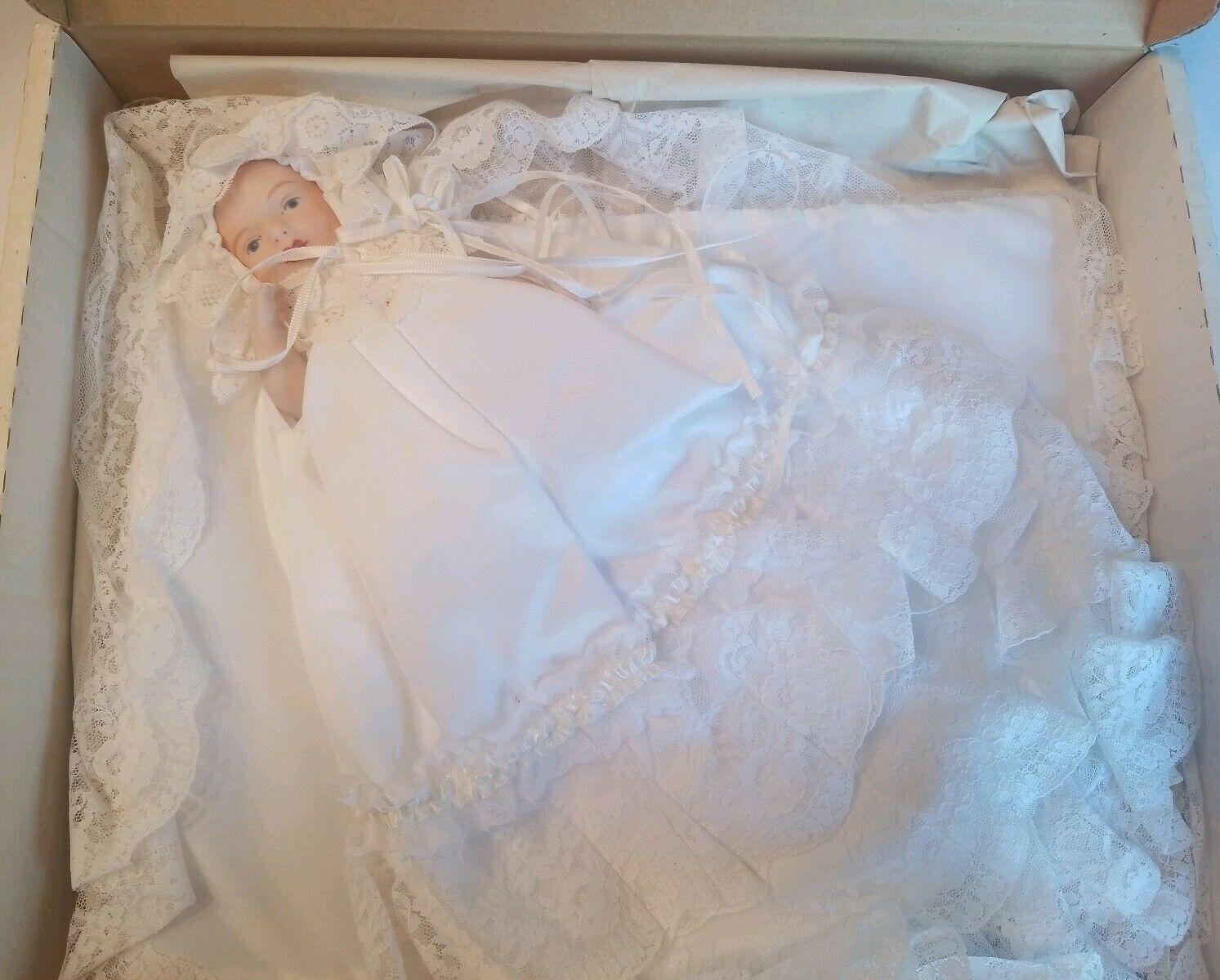 JUDY CUDDY ANTIQUE REPRO IRISH BABY CHRISTENING GOWN 6  FULL PORCELAIN DOLL