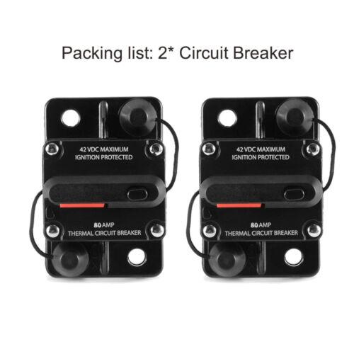 80Amp Car Auto Audio Marine Boat Audio Circuit Breaker DC 12V//24V//42V  2 Pcs
