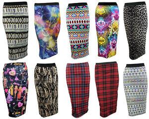 Womens-Ladies-Printed-Pencil-Bodycon-Stretchy-Wiggle-Midi-Skirt-Plus-Size-8-14