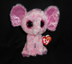 6 Ty Beanie Boos Pink Sparkly Ellie Elephant Stuffed Animal Plush