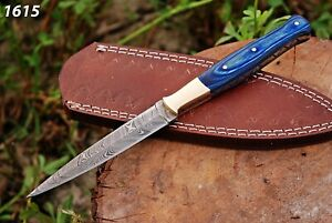 HAND-FORGED-DAMASCUS-STEEL-DAGGER-BOOT-Throwing-Knife-Wood-amp-Brass-Handle-sheath