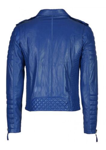 para chaqueta de slim de Hombres motocicleta cuero cordero acolchada corte genuina piel YIvZw