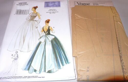 VOGUE V8729 Vintage 50/'s FULL BALL GOWN EVENING BRIDAL DRESS SEW PATTERN SZ 6-20