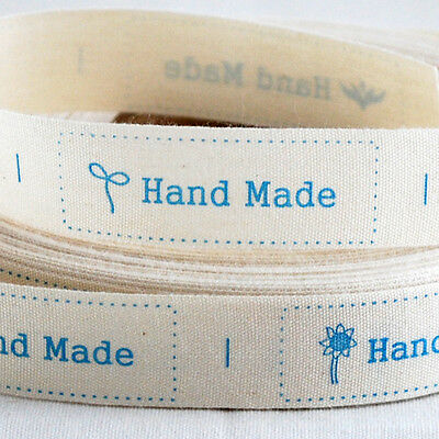 Cotton Ribbon Sewing Label - Hand Made - Blue Flower