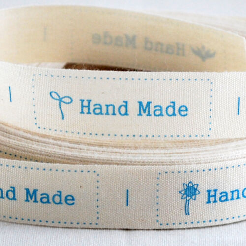 Cotton Ribbon Sewing Label Hand Made Blue Flower