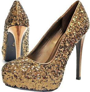 Nouvelles Party chaussures Prom pour Escarpins femmes habillés soirée Stilettos Sequins de Bronze N0wXnOkP8Z
