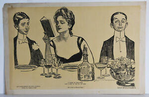 15-034-Antique-1900-Print-Charles-Dana-Gibson-034-Senseless-After-Dinner-Custom-034-Art