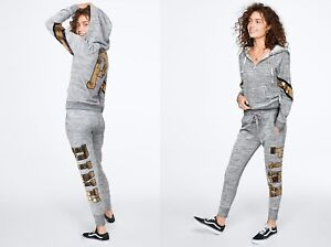 9a70a4bed2265 Details about NWT Victoria's Secret PINK GOLD Bling Hoodie Skinny Jogger  Pant SET Marl Grey XS