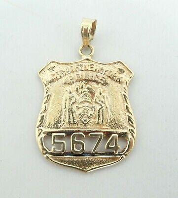 14k Yellow Gold New York Police Pendant