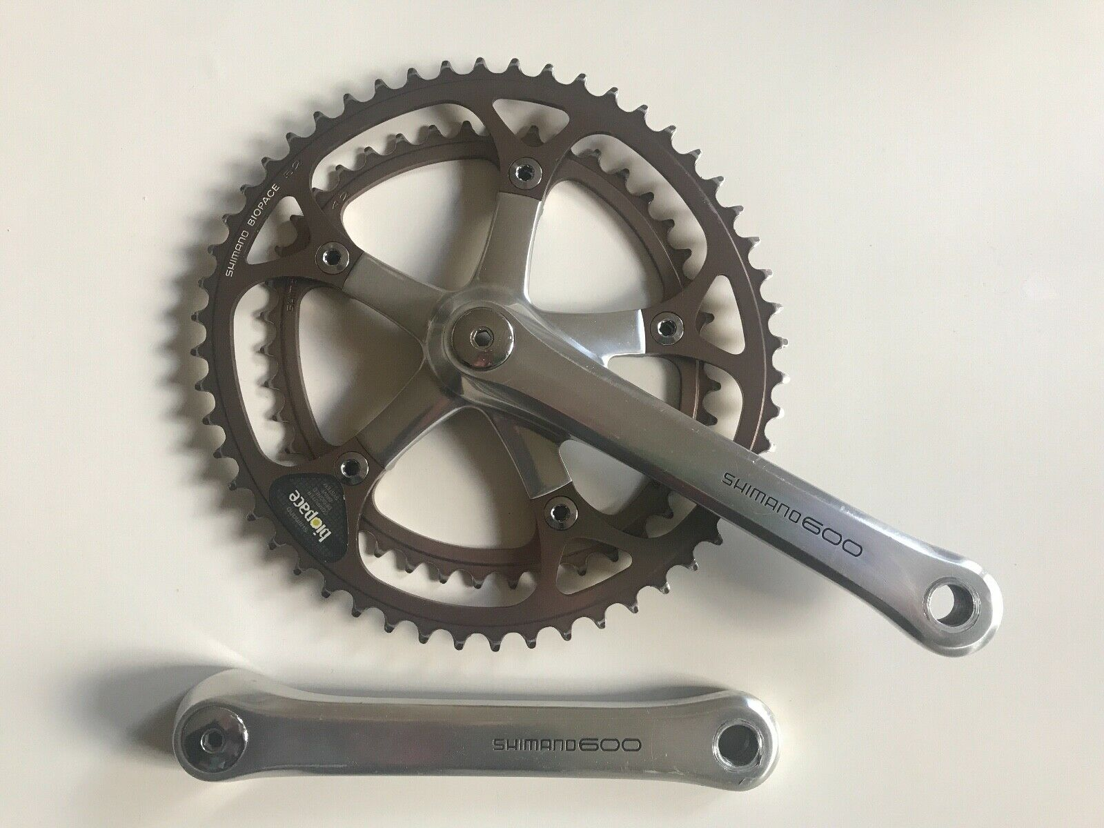 Shimano 600EX crankset FC-6207 with Biopace 52 42t, 175mm, used