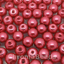 6mm Glass faux Pearls - Cerise - 100 beads, jewellery making