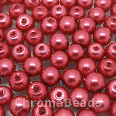 6mm Glass Faux Pearls Magenta 100 beads jewellery making