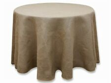 "120"" Round Rustic Burlap Tablecloth - Natural Tone"
