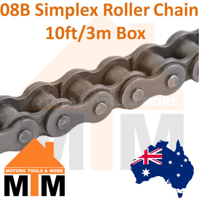 "INDUSTRIAL ROLLER CHAIN 08B-1 - 1/2"" PITCH 10Ft 3m Box 08B British Standard"