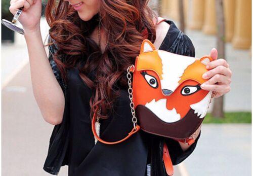 Kleine Handasche Fuchs Eule Tasche braun Kunstleder Tier Damen Umhängetasche