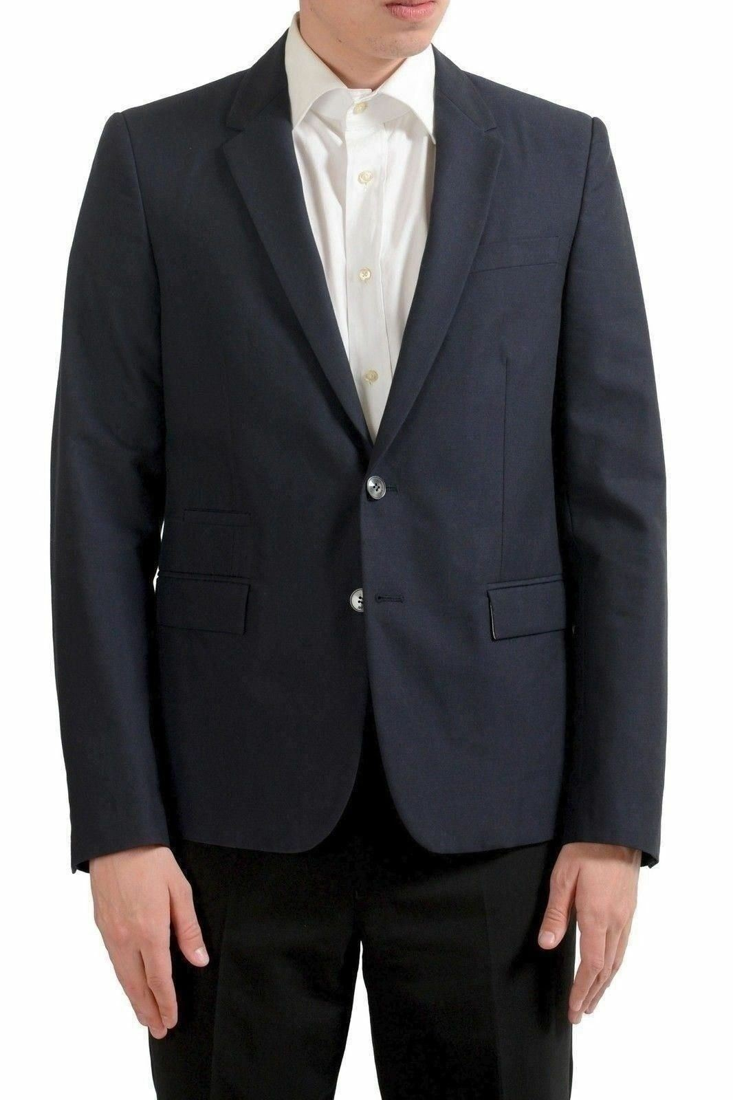 Just Cavalli Men's Wool Navy bluee Two Button Blazer Sport Coat US 38 IT 48