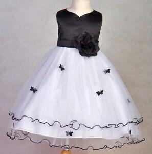 Black White Butterfly Roses Flower Girl Dress Size S 2 4 6 8 10 Ebay