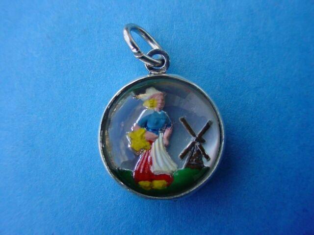 Vintage silver PRETTY LITTLE DUTCH GIRL NURSERY RHYME REVERSE INTAGLIO charm