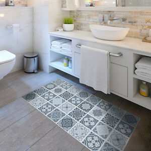 Details About Anti Slip Grey Moroccan Tile Floor Stickers Waterproof Home Decal 60 120cm