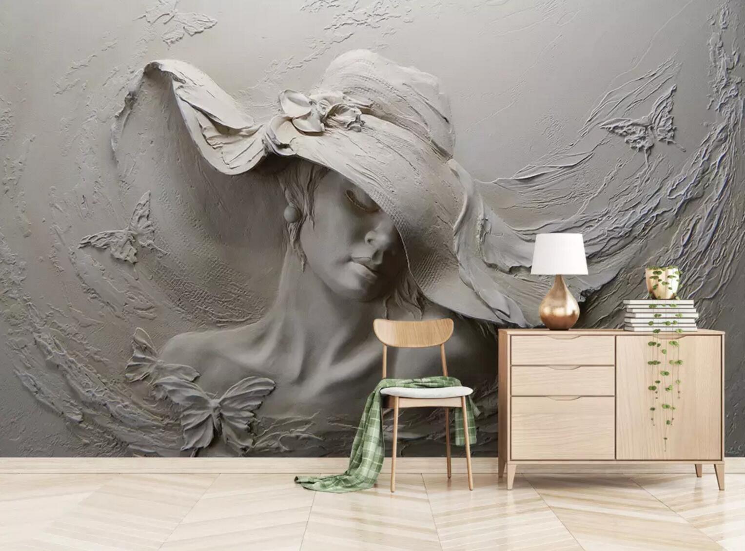 3D Prägen Frau 78 Mauer Papier Exklusiv MXY Fototapete Abziehbild Innen Mauer