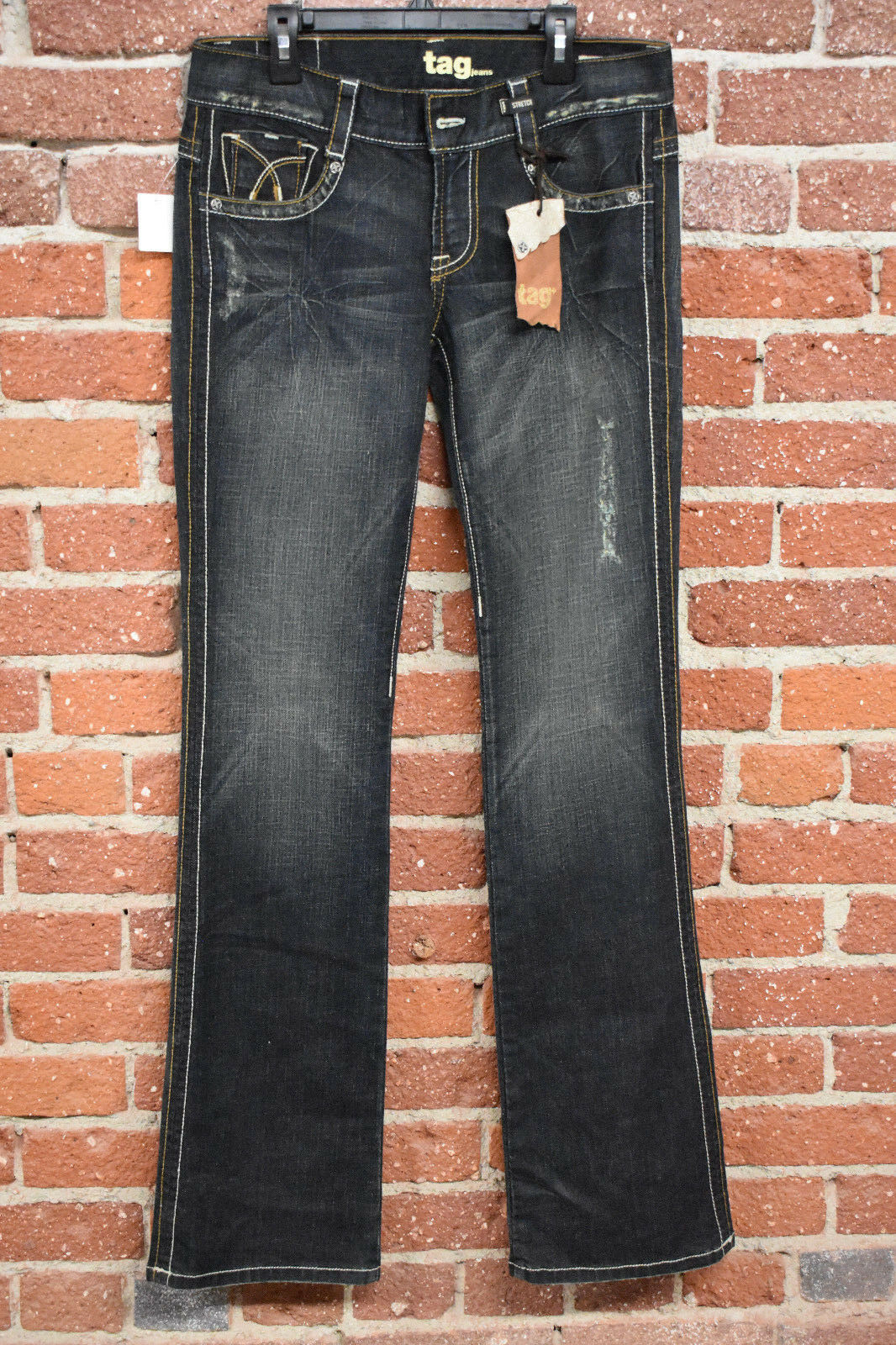 1R1F TAG JEANS WOMENS DISTRESSED SANDWASHED BOOTCUT JEANS 28 35