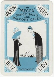 Playing-Cards-Single-Card-Old-Wide-MECCA-DANCE-HALLS-Advertising-Art-Jazz-Band-1
