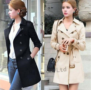 Women-Slim-Windbreaker-Double-Breasted-Long-Trench-Coat-Jacket-Overcoat-Fashion
