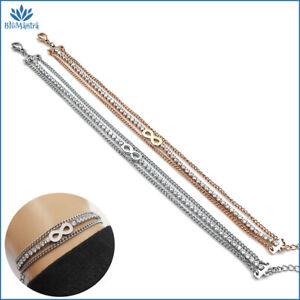 Bracciale da donna multifilo tennis con infinito braccialetto in acciaio inox a
