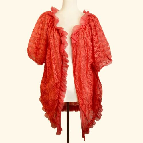 Vintage Peignoir Medium Coral Orange Floral Lace R