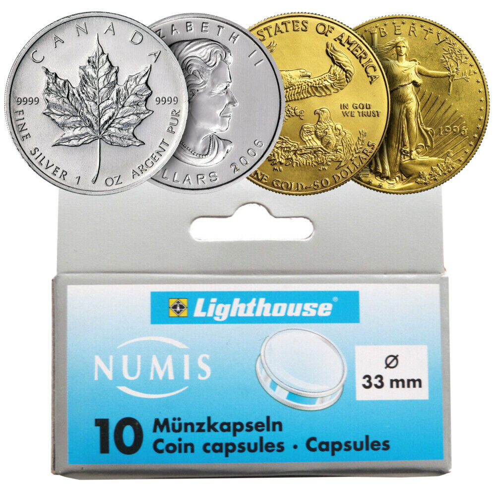 H38 Capsule for silver coins and rounds fits Canadian Maple Leafs FIVE