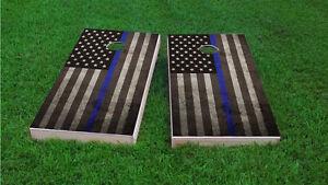 Police Back the Blue Blue Line Flag Cornhole Board Skin Wrap Decal set LAMINATE