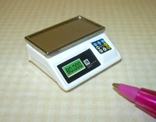 Miniature White Metal Digital Style Scale, High Detail: DOLLHOUSE 1:12
