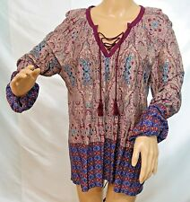 Lapogee Women Plus Size 1x 2x 3x Brick Red Gypsy Tie Dye Tunic Top Blouse Shirt