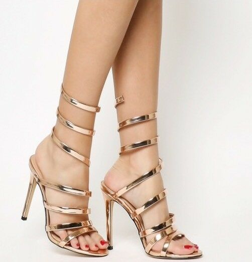 New Office LondonTaille 6.5 Hundrouge Rose or Strappy Funky Sandals chaussures 40EU