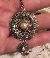 Shablool Israel Pearl Pendant Necklace 14k / 925 Sterling Silver