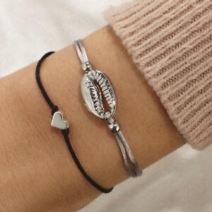 2Pcs-Set-Bohemian-Shell-Heart-Rope-Chain-Bracelet-Bangle-Women-Jewelry-Gift-RG