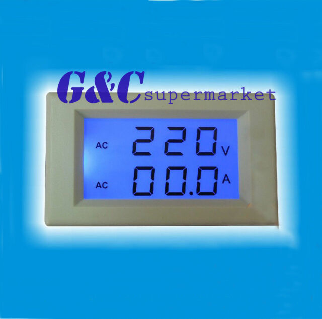 AC 300V 50A Dual LCD Digital Voltmeter Ammeter Voltage AMP BLUE backlight M24
