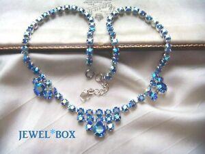 VINTAGE-BEAUTIFUL-PEACOCK-BLUE-AURORA-BOREALIS-RHINESTONE-AB-CRYSTAL-NECKLACE