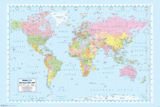 World Map Geography Atlas Educational Earth Latitude Classroom Poster - 18x12