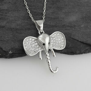 Elephant head pendant necklace 925 sterling silver cz ears image is loading elephant head pendant necklace 925 sterling silver cz aloadofball Images