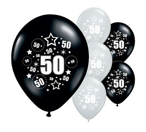 10-x-50TH-BIRTHDAY-BLACK-AND-SILVER-12-034-HELIUM-OR-AIRFILL-BALLOONS-PA