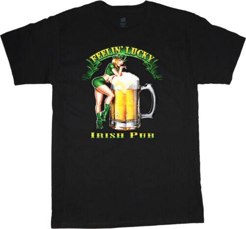 St Patrick/'s day t-shirt for men Irish Pub feelin/' lucky pin up girl design tee