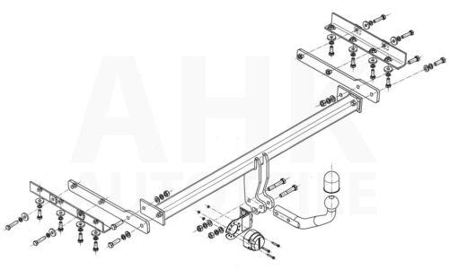 AHK Für Nissan Pulsar 5-Tür ab 14 Kpl. Anhängerkupplung starr+ES 13p uni