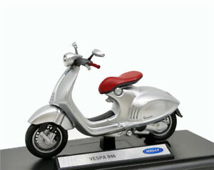Details About Welly 118 Vespa 946 Silver Scooter Diecast Model Bike