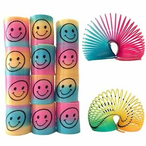 36 X Smile Rainbow Mini Springs Party Bag Fillers Stretchy Slinky Coil Kids Toy