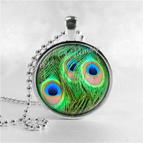 PEACOCK Feather Necklace, Peacock Pendant, Peacock Jewelry, Photo Art Glass Pend
