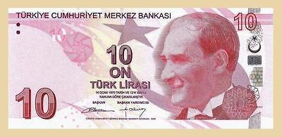 10  LIRA  2009 TURKEY 2012 Prefix B P 223 NEW  Uncirculated Banknotes